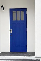 玄関 ブルー オリジナルカーテンバー カーテン生地 パグ