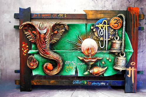 Original Ganesh Mantra Oil Painting