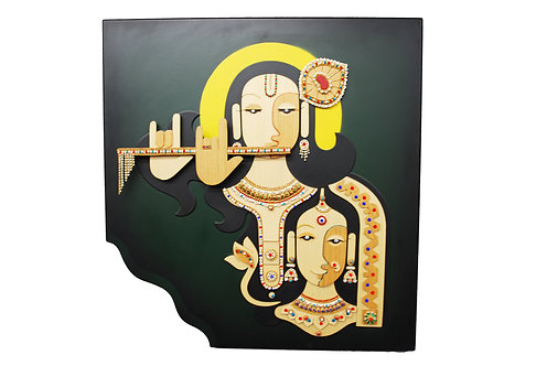 3D Jewelled Radha Krishna Wall Art