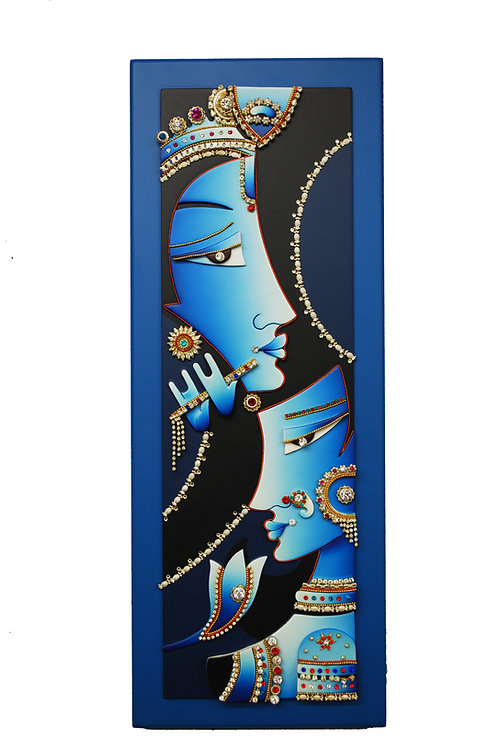 3D Jewelled Abstract Radha Krishna
