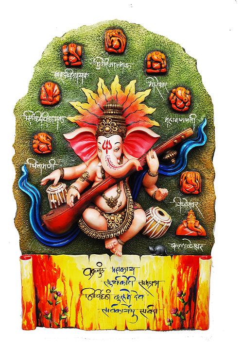 3D Ashta Mangal Ganesh Wall Art