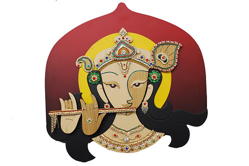 3D Jewelled Krishna Wall Art