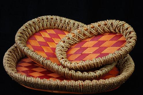 Set of 3 Bamboo Wicker Baskets