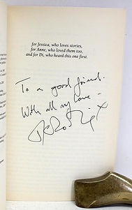 JK Rowlin forgery with dedication found inside a Celebration edition Harry Potter and the Philosopher's Stone; this forgery was found on Abebooks.co.uk on April 1st 2019 for 1000GBP.