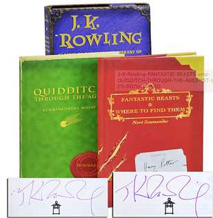 Both signatures are J.K. Rowling forgeries; currently listed on ebay for $2750.00