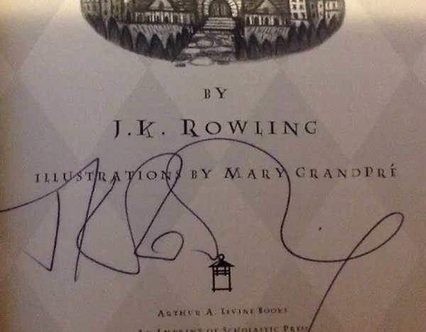Authentic J.K. Rowling Signature 1999