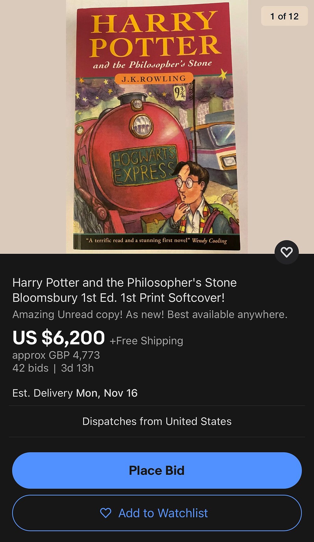 Fake Harry Potter and the Philosopher's Stone up for auction on eBay, 11/2020