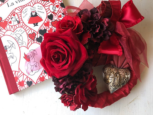 Red wreat with miragro (artificial flower )