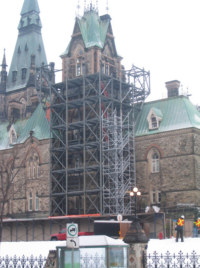 Parliament West Block steelwork in progress