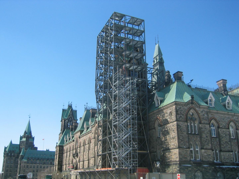 Parliament West Block steelwork 3/4 view