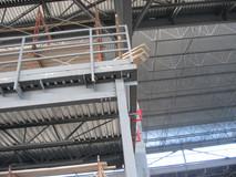 OC Transpo Garage ceiling, railings, and scaffolding steelwork