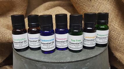 eucalyptus, lavender, frankincense, rosemary, tea tree, lemongrass, peppermint oil
