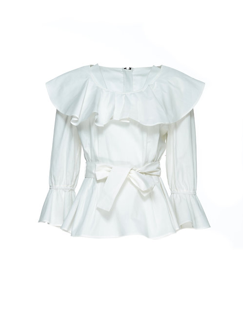 FTOWB009 - Ladies Woven Ruffle Blouse w/Zipper at Back