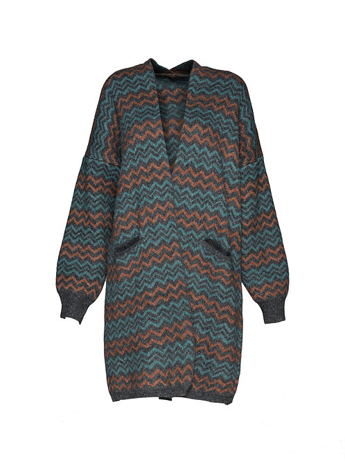 FTS09 - Ladies' Knitted Jacquard Cardigan