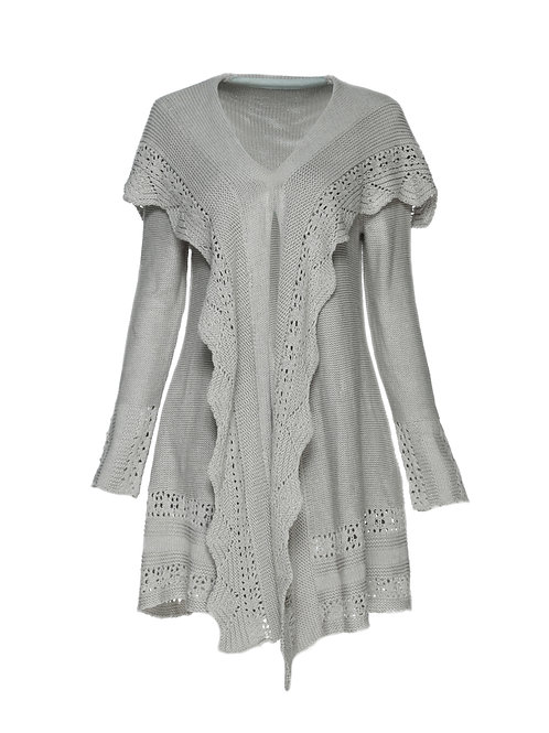 FTS19 - Ladies' Knitted Cardigan with Scallops Placket