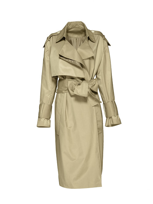 FTOWC008 - Ladies Woven Belted Trench Coat
