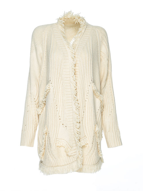 FTS20 - Ladies' Wool Knitted Cardigan w/Fringe