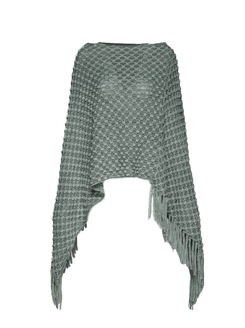 FTS01 - Ladies' Knitted Poncho with Fringe
