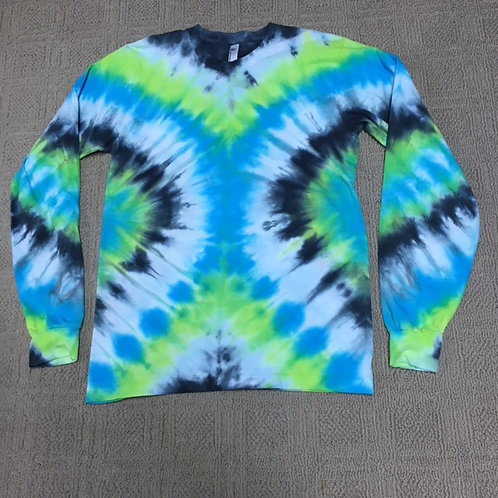 Adult Tie-Dye Long Sleeve T-Shirt - Vivid V-Stripe Design