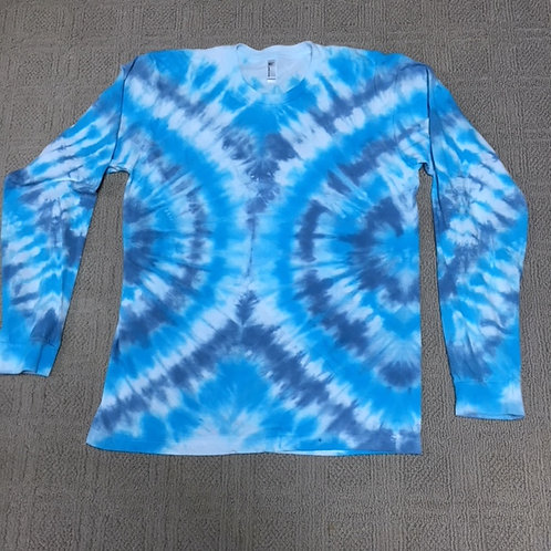 Adult Tie-Dye Long Sleeve T-Shirt - Soft V-Stripe Design