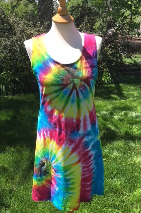 Ladies Cotton Tank Dress - Vivid Swirl Design