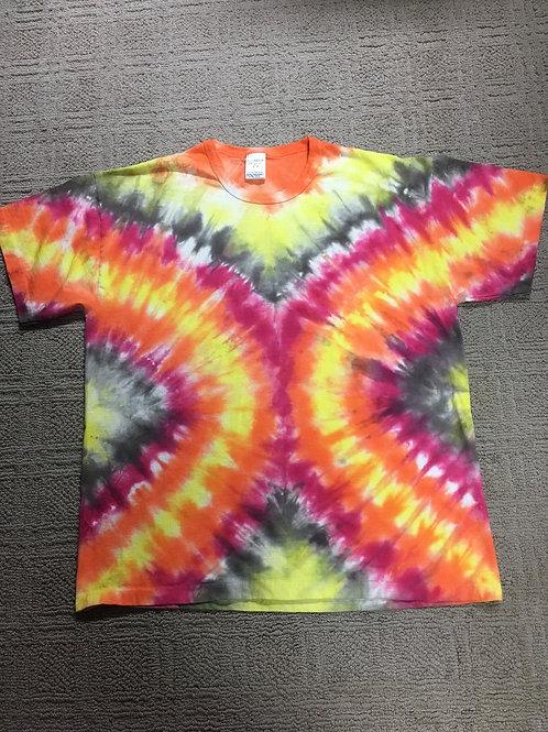 Adult Tie-Dye T-Shirt - Soft V-Stripe Design