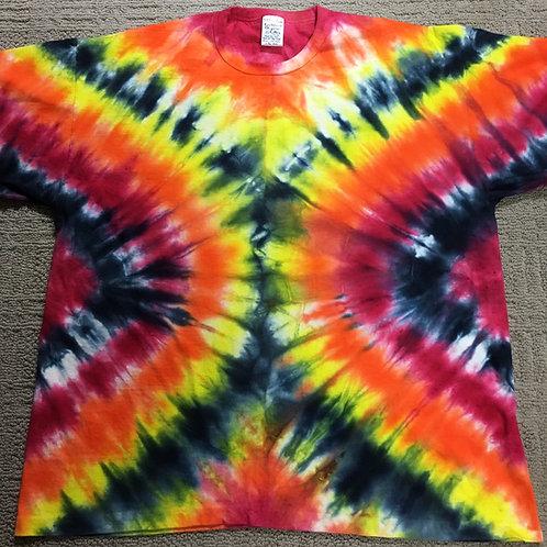 Adult Tie-Dye T-Shirt - Vivid V-Stripe Design