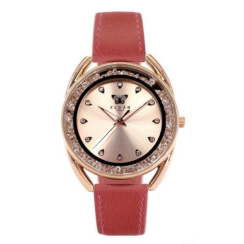 Orologio donna alla moda con quadrante rose gold, brillantini e cinturino in vera pelle made in italy di colore rosa