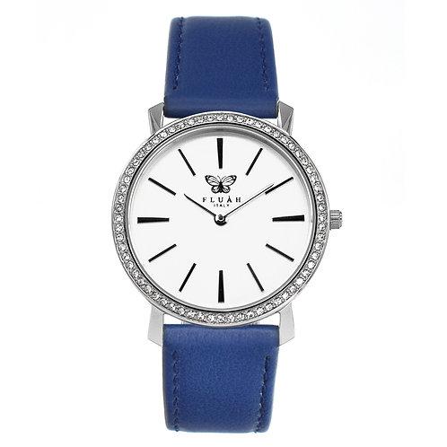 Orologio donna alla moda con quadrante bianco, brillantini e cinturino in vera pelle made in italy di colore blu