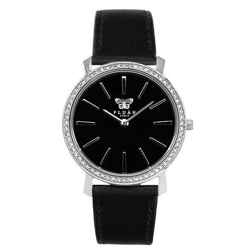 Orologio donna silver alla moda con quadrante nero, brillantini e cinturino in vera pelle made in italy di colore nero