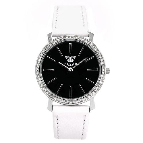 Orologio donna silver alla moda con quadrante nero, brillantini e cinturino in vera pelle made in italy di colore bianco