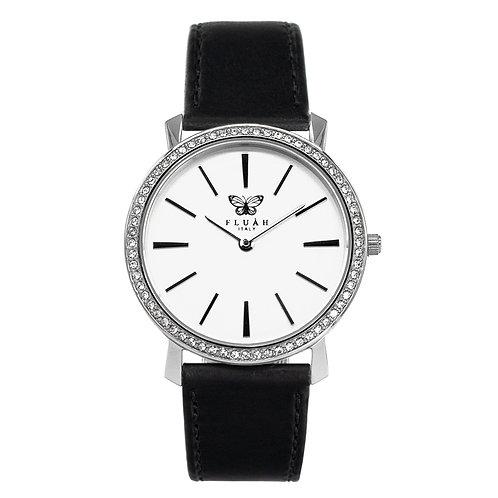 Orologio donna alla moda con quadrante bianco, brillantini e cinturino in vera pelle made in italy di colore nero