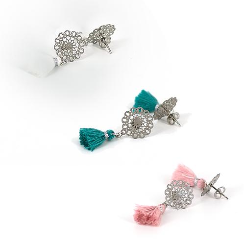 Orecchini silver bohemien con nappine colorate stile ibiza