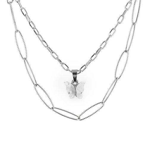 Collana doppia catena in acciaio silver con ciondolo farfalla in resina colorata moda donna