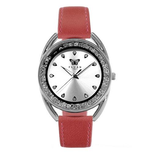 Orologio donna alla moda con quadrante silver, brillantini e cinturino in vera pelle made in italy di colore rosa