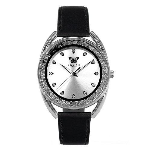 Orologio donna alla moda con quadrante silver, brillantini e cinturino in vera pelle made in italy di colore nero