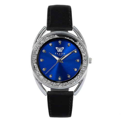 Orologio donna alla moda con quadrante blu, brillantini e cinturino in vera pelle made in italy di colore nero