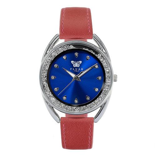 Orologio donna alla moda con quadrante blu, brillantini e cinturino in vera pelle made in italy di colore rosa