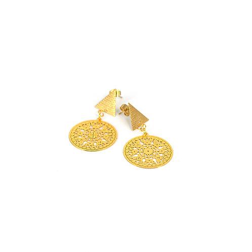 Orecchini moda donna in acciaio gold stile bohèmien con ciondolo geometrico