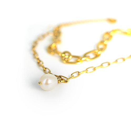 Bracciale moda in acciaio anallergico gold con perla d'acqua dolce