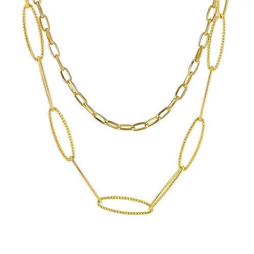 Collana moda donna in acciaio anallergico gold con doppia catena