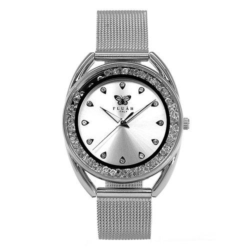 Orologio donna alla moda con quadrante silver, brillantini e bracciale in acciaio maglia milanese silver