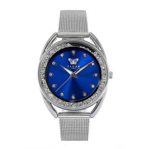 Orologio donna alla moda con quadrante blu, brillantini e bracciale in maglia milanese silver anallergico
