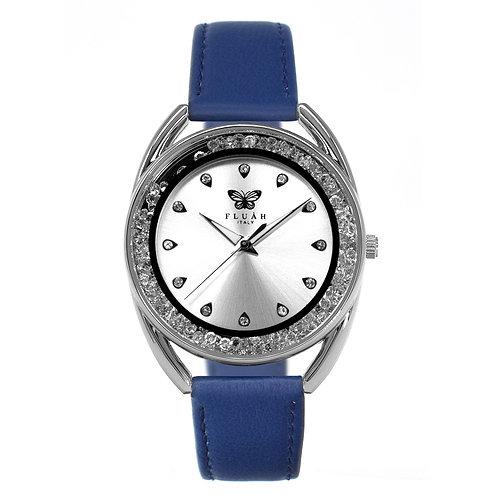 Orologio donna alla moda con quadrante silver, brillantini e cinturino in vera pelle made in italy di colore blu