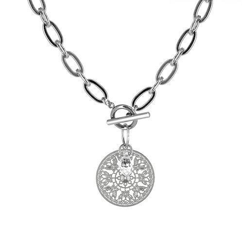 Collana in acciaio anallergico silver con ciondolo bohémien e cristallo swarovski