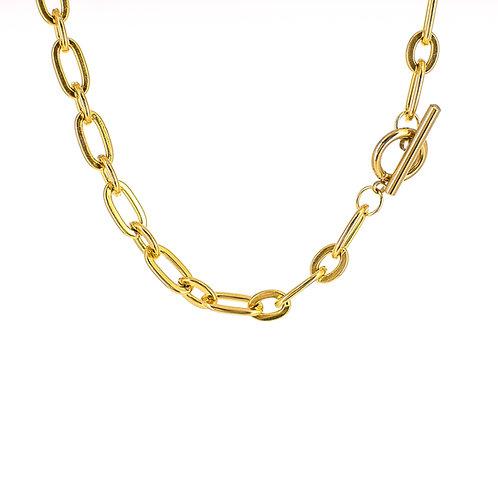 Collana moda donna in acciaio anallergico gold e con maglie grosse