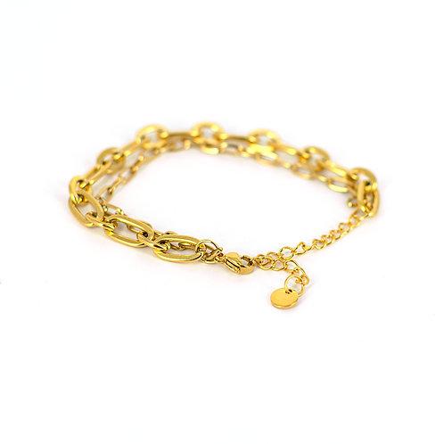 Bracciale moda donna in acciaio anallergico gold con doppia catena