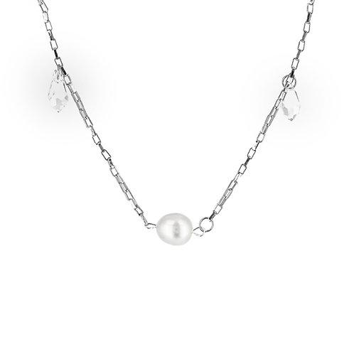 Collana moda donna in acciaio anallergico silver con perla d'acqua dolce e cristalli swarovski