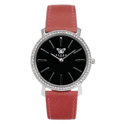 Orologio donna silver alla moda con quadrante nero, brillantini e cinturino in vera pelle made in italy di colore rosa