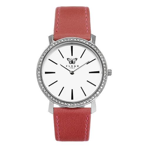 Orologio donna alla moda con quadrante bianco, brillantini e cinturino in vera pelle made in italy di colore rosa